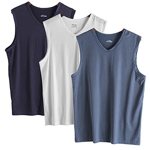 Camiseta sin Mangas,Tank Top para Hombre, Camisetas Ttirantes para Entrenamiento 3 Piezas