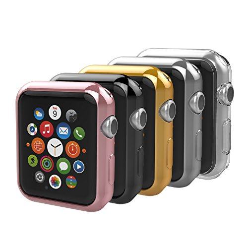 [5-Pack] Apple Watch 38mm Case, Anjoo iPhone Watch Slim TPU All-around Protective Clear Cover Case for iWatch 38mm Apple Watch Series 2 and Series 3 - Rose Gold, Gold, Silver, Transparent, Black