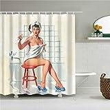 kdjshhs Duschvorhang Sexy Cartoon Marilyn Monroe Mildewproof Duschvorhänge Bad Vorhang Set Mit Haken Dekoration Zubehör 180X200 cm G