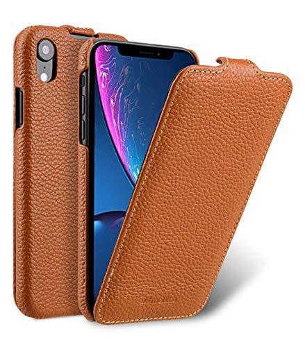 melkco Premium Leder Handgefertigte Tasche fur Apple iPhone XR - Jacka Typ (Orange LC)