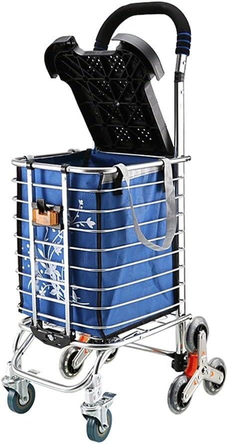 Carro de La Compra Carro de la colgante de la carretilla de compras plegable con la escalera ligera del marco de aluminio con la bolsa de escalada de Oxford extraíble Carrito de La Compra Plegable