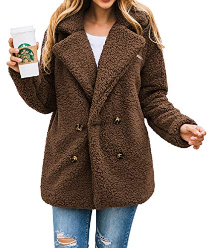 PRETTYGARDEN Women's Fashion Long Sleeve Lapel Zip Up Faux Shearling Shaggy Oversized Coat Jacket with Pockets Warm Winter (XX_Large, Z-Coffee)