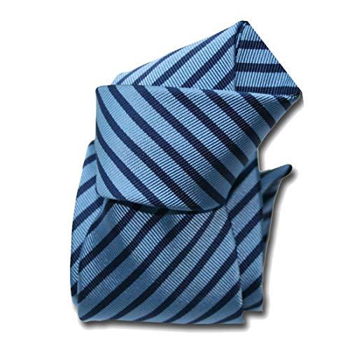 Segni et Disegni. Cravate Mogador. Brescia, Mogador. Bleu, Club/rayé. Fabriqué en Italie.
