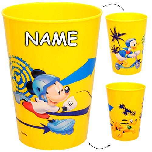 alles-meine.de GmbH 1 Stück _ 3 in 1 - Trinkbecher / Zahnputzbecher / Malbecher - Becher -  Disney - Mickey Mouse - Donald Duck & Pluto - GELB  - inkl. Name - 250 ml - Trinkgla..