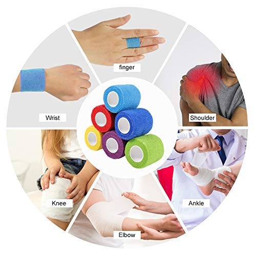 Yumi V Cohesive Bandages, 6 Rolls Pet Vet Wrap Self Adhesive Bandage Non-woven Elastic Sports Bandages Cohesive Support Bandage Water Repellent Breathable for Wrist Ankle Sprains Swelling (6 Colour)