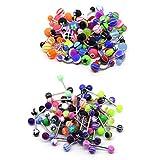 edelstahl bauchnabel ringe, 100 stück zungenpiercing hanteln kit, verschiedene farben gemischt body...