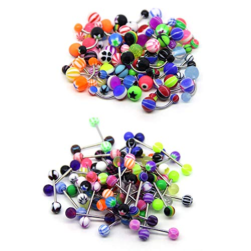 edelstahl bauchnabel ringe, 100 stück zungenpiercing hanteln kit, verschiedene farben gemischt body piercing für männer frauen