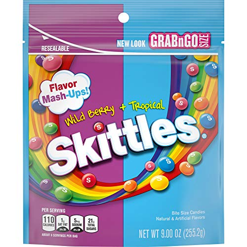 Skittles Flavor Mash-Ups Wild Berry and Tropical Candy, 9 ounce (8...