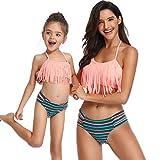 FeelinGirl Madre e Hija Bikini de 2 Piezas Volantes Estampado Floral Bañador Chica de Cintura Alta Conjunto de Traje De Baño para Familia Verano Playa Naranja Años 4-5(Altura 101-110cm)