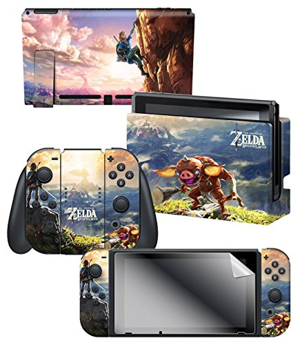 "Controller Gear Officially Licensed Nintendo Switch Skin & Screen Protector Set - The Legend of Zelda - Breath of the Wild ""Link Hilltop View"" - Nintendo Switch"