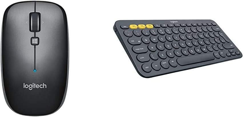 Logitech M557 Bluetooth Mouse, Gray & K380 Multi-Device Bluetooth Keyboard – Dark Grey