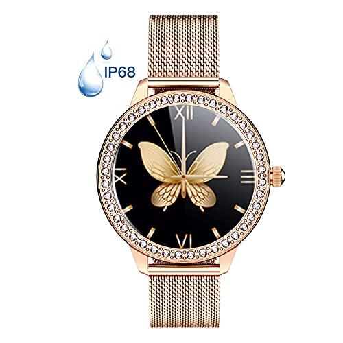Reloj Inteligente Smartwatch Para Mujeres, Impermeable IP68 Monitor De Ciclo Menstrual Femenino, Frecuencia Cardíaca, Presión Arterial, Sueño, Rastreador De Salud Para Teléfonos Android Ios,Oro