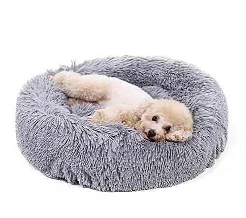 Luxuriöses zotteliges Hundebett aus Kunstfell in Donut-Form, orthopädische Entlastung, selbstwärmender gemütlicher Schlaf, Grau 66 x 66 cm