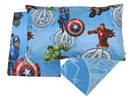 hermet Completo Letto Lenzuola 100% Cotone copriletto Originale Avengers Marvel Una Piazza Singolo