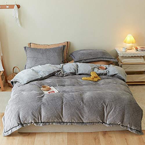 Plumón de Ganso con Funda,Kit de ropa de cama de terciopelo de cristal cálido,sábanas gruesas,fundas de almohada para el dormitorio son camas individuales dobles king size gray 220 * 240cm (4pcs)