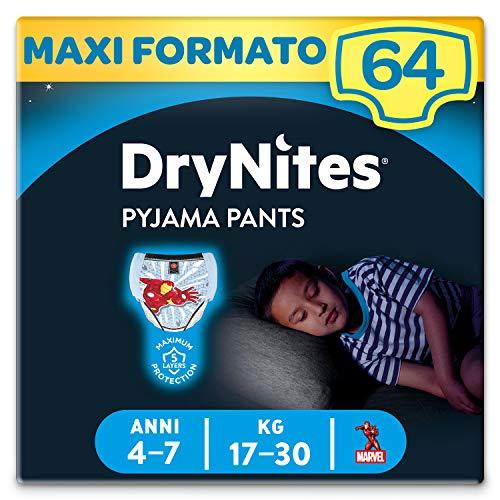 Huggies Drynites Mutandine Assorbenti per la Notte per Bambino, 17-30 Kg, Confezione da 64 Pezzi (4 x 16)