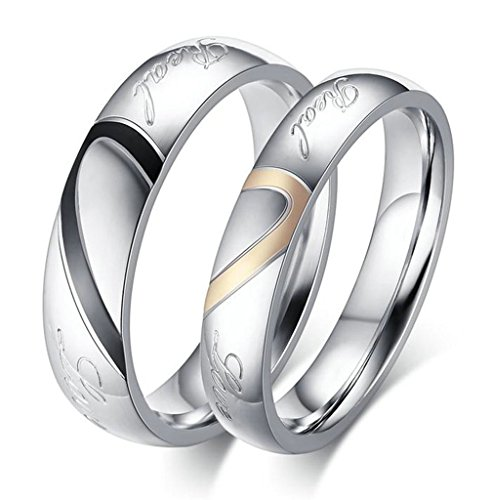 Aooaz Free Engraving Mens Stainless Steel Ring Puzzle Heart 'Real' Wedding Band Black Silver Size 8