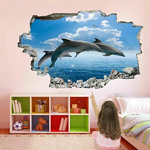 Dolphin Sea 3D Wall Art Sticker Mural Decal Poster Printing Children Room Decoration FP24