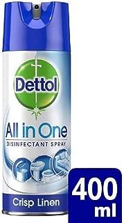 DETTOL All in One Disinfectant Spray, Crisp Linen Scent - 400 ml Bottle (Pack of 4)