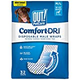 OUT! Pet Care Disposable Male Dog Diapers | Absorbent Male Wraps with Leak Proof Fit | Medium/Large, 32 Count
