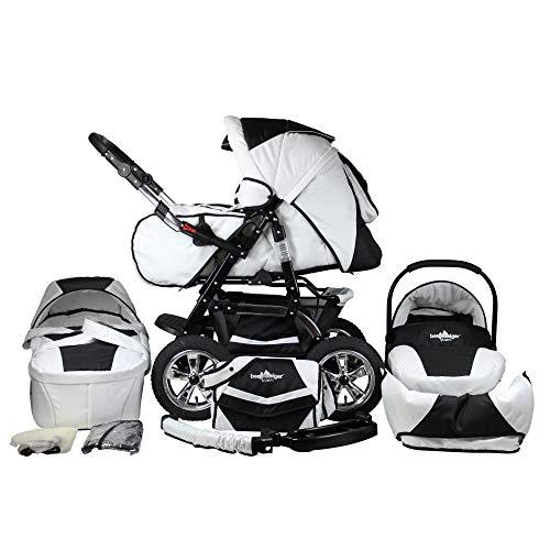Bergsteiger Milano Kombikinderwagen + Autositz mit Travelsystem (Megaset 10 - teilig); Farbe: Black & White