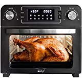 Deco Chef 24 QT Black Stainless Steel Countertop 1700 Watt Toaster Oven with built-in Air Fryer and included Rotisserie Assembly, Grill Rack, Frying Basket, and Baking Pan