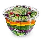 [50 Sets] 48 oz. Plastic Salad Bowls To Go With Airtight Lids