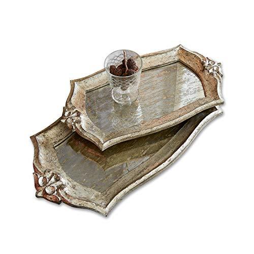 Loberon Tablett 2er Set Palencia, MDF, Glas, Groß: B/H/T 54/4/29cm, Klein: B/H/T 44/3/24cm, antiksilber