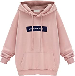 DMZing Plus Size Fashion Women's Long Sleeve Hoodie Sweatshirt Jumper Letter Print Casual Pullover Tops Blouse (L, Pink)
