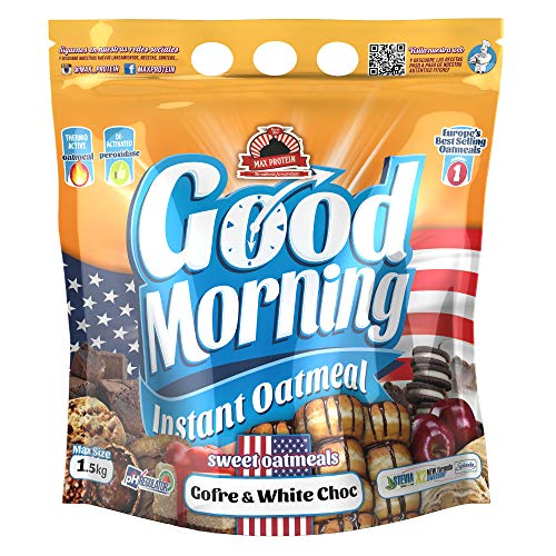 Max Protein - Good Morning Instant Oatmeal, Harina de avena, 1,5kg Gofre - White Choc (Pack 2 ud.)