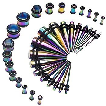 14G-00G 36pcs Ear Gauges Stretching Kit Surgical Steel Tapers Tunnels Plugs Piercing Set Body Jewelry Rainbow