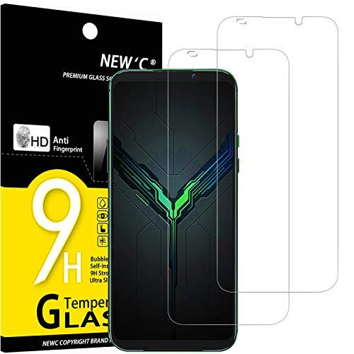 NEW'C Lot de 2, Verre Trempé Compatible avec Xiaomi Black Shark 2, Film Protection écran sans Bulles d'air Ultra Résistant (0,33mm HD Ultra Transparent) Dureté 9H Glass