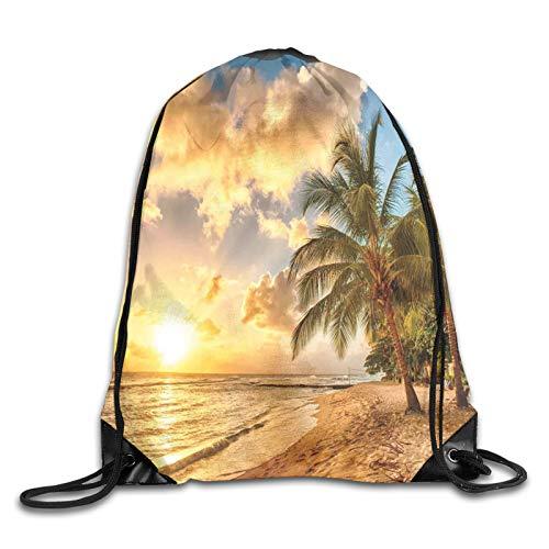 Mochila de playa de arena con horizonte al atardecer y palmeras de coco, para verano, con diseño de fotos, con cordón, para deporte, gimnasio, viaje