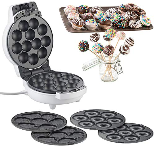 Rosenstein & Söhne Donutmaker: 3in1-Donut-, Cupcake- und Cakepop-Maker, antihaftbeschichtet, 600 Watt (Muffin Maker)