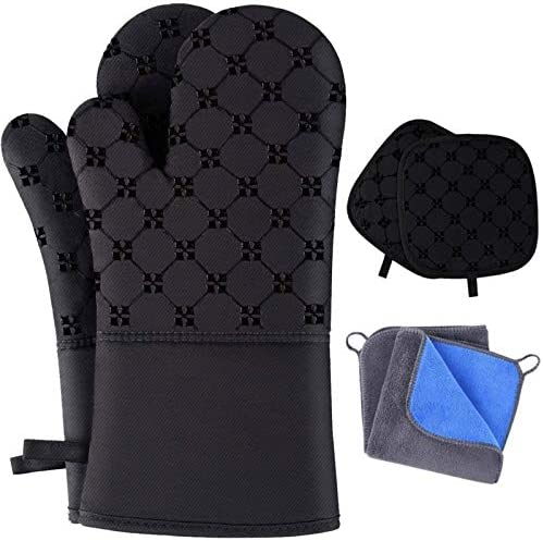 TAOSANHU Oven Mitts and Pot Holders Sets Heat Resistant 500 Degrees Kitchen Gloves with 2 PCS product image