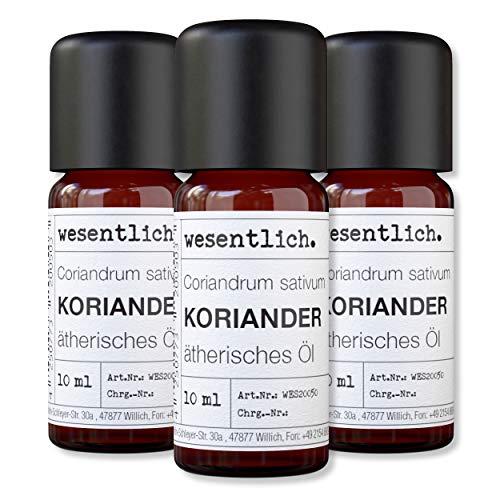 wesentlich. Korianderöl - ätherisches Öl - 100% naturrein (Glasflasche) - u.a. für Duftlampe und Diffuser (3x10ml)