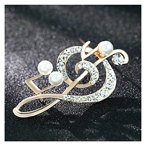 xiaofeng214 Music Brooch Pin Metal Rhinestone Musical Note Brooch Gifts Woman Crystal Jewelry Clothes Accessories(2pcs) (Metal color : Pearls)