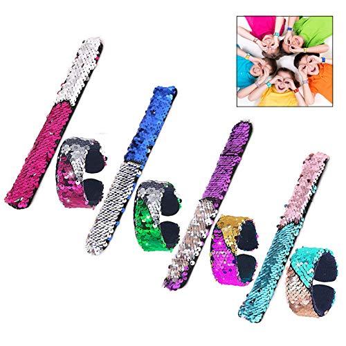 iwobi 8 PCS Lentejuelas Bofetada Pulseras, Glitter Sirena Slap Bracelets Pulseras para niños 2 Colores Reversibles Pulseras para Favores de Fiesta, Halloween Navidad Fiesta y Festival Regalo