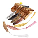 7 Pieces Vintage Metal Feather Bookmarks with Tassels and Beaded for Adults and Kids,Perfect Kids Office School Reading and Gifts and Collections,Ideal Gift for Reader, Woman and Kids.