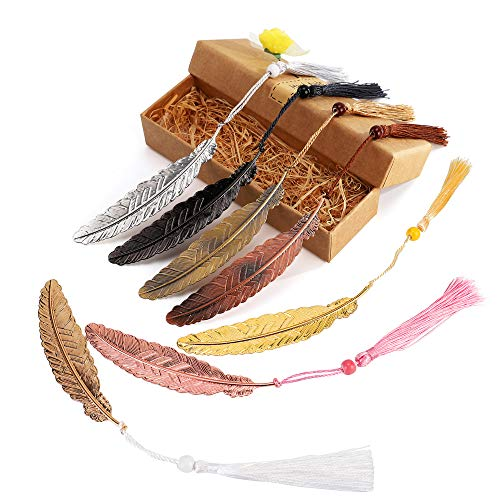 7 Pieces Vintage Metal Feather Bookmarks with Tassels and Beaded for Adults and Kids,Perfect Kids Office School Reading and Gifts and Collections,Ideal Gift for Reader, Woman and Kids.( Seven Colors)