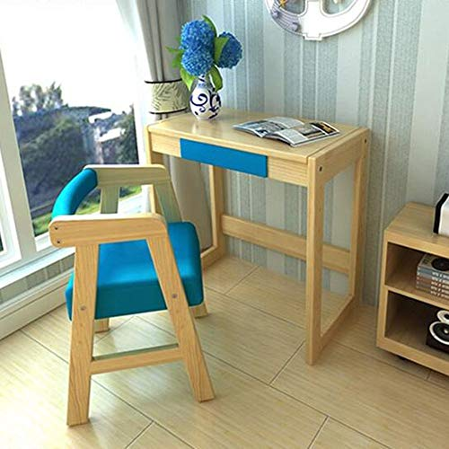 FEI Chaise réglable en bois pour enfants avec chaise Chaise ergonomique en bois pour enfants (Couleur : Bleu, taille : 70 * 40 * 70cm)