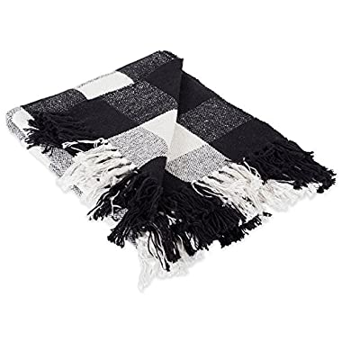DII 100% Cotton Buffalo Check Throw for Indoor/Outdoor Use Camping BBQ's Beaches Everyday Blanket, 50 x 60, Black & White