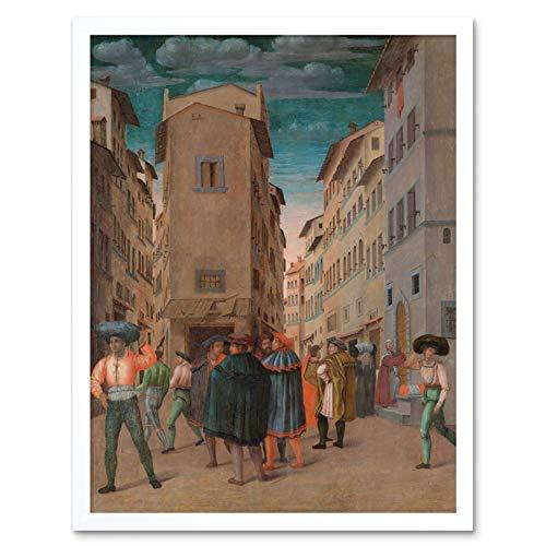 Florentine Traveler Sheltering Works Mercy Painting Art Print Framed Poster Wall Decor 12x16 inch Reise Arbeit Gemälde Wand Deko