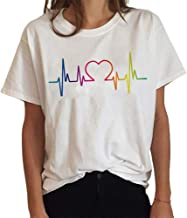 Bingchuan Camiseta Gay Pride LGBT Rainbow Tees Mujeres Rainbow Graphic Tees Casual Summer Short Sleeve Sleeve Tops