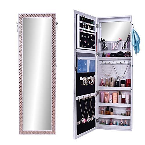 Kast voor het ophangen van sieraden, spiegel, sieradenkast, wanddecoratie, sieraden, opbergtas, geschikt voor kastwand, grote opslagcapaciteit voor het opslaan van accessoires