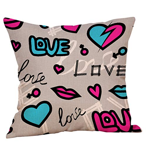 Houshelp Valentines Day Pillow Covers Heart Print Throw Pillow Covers Cushion Cases for Valentine Home Decor 18x18 inch