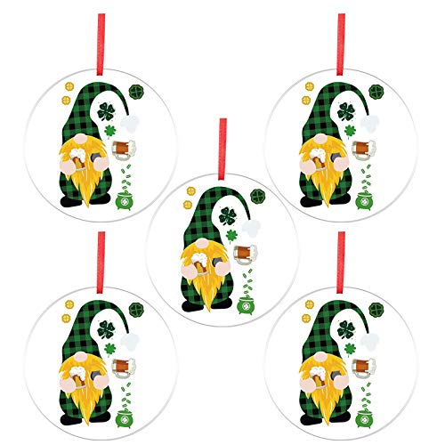 CUTUDU St Patrick's Day Ornament Hanging Bauble for Tree Baubles Table Shelf Festival Acrylic Fun Faceless Doll Pattern Pendant Decoration Supplies