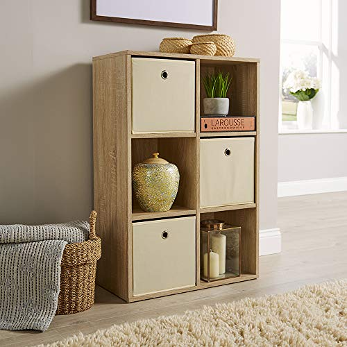 Home Source Storage Cube 6 Shelf Bookcase Wooden Display Unit Organiser Sonoma Oak Furniture