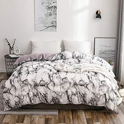 Ichiias Breathable Print Skin-friendly Bedding Set, Bed Supplies Marbled Pattern Comfortable Bedding, Durable for Bedroom(Marble-white)