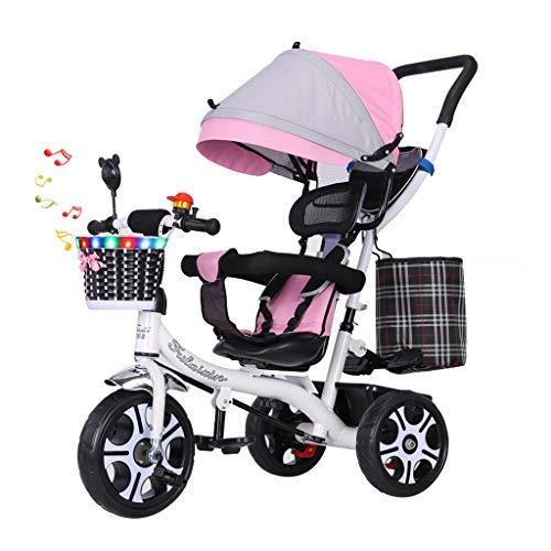 WENJIE Bicicleta De Bebé Triciclo Multifunción Cochecito De Bebé 1-3-6 Años Cochecito De Bebé Multifunción Asiento Giratorio Regalo De Juguete De Bebé (Color : Pink)